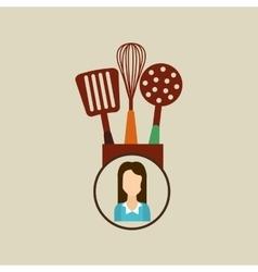 Kitchen utensils icon woman vector