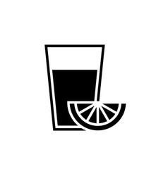 lenonade glass with piece lemon black icon vector image
