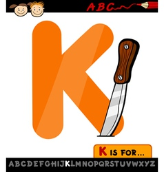 letter k with knife cartoon vector image