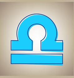Libra sign sky blue icon vector