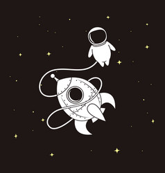 Little astronaut with rocket in space vector