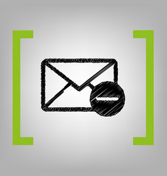 mail sign black scribble vector image