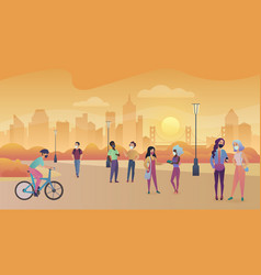 Men and women wearing masks walking on sunset vector