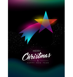 merry christmas glow gradient star greeting card vector image