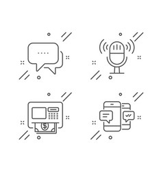 Microphone atm and message icons set smartphone vector