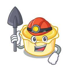 Miner egg tart mascot cartoon vector