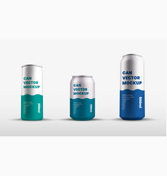 Mockup tin cans with presentation color vector