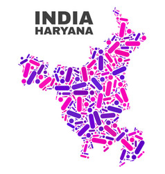 Mosaic haryana state map of dots and lines vector