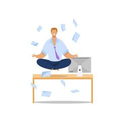Office worker meditating flat vector