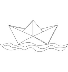 One continuous line paper ship concept vector