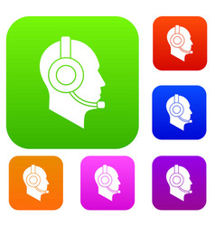 operator in headset set collection vector image