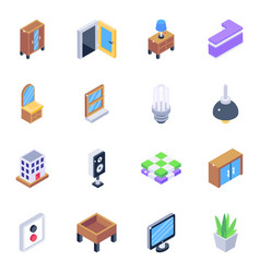 Pack home interior isometric icons vector