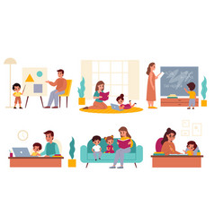 Parents children learning fathers and mothers vector