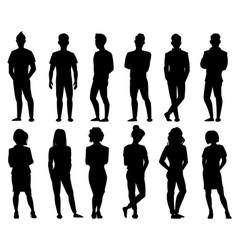 people silhouettes male and female anonymous vector image