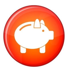 Piggy bank icon flat style vector