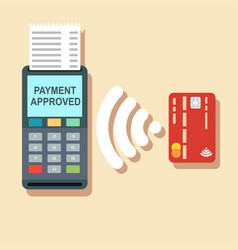 Pos terminal confirms the payment by debit credit vector