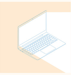 realistic flat modern laptop with color glow on vector image