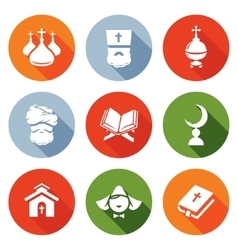 Religion Orthodoxy Islam Catholic Icons Set vector image