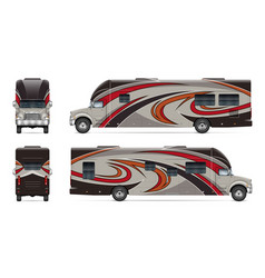 Rv template vehicle branding mock up side front vector