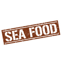 Sea food square grunge stamp vector