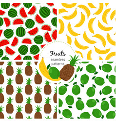 seamless patterns with exotic fruits banana and vector image