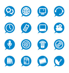 set 16 communication bubble icons in blue vector image