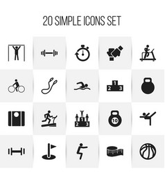 Set of 20 editable fitness icons includes symbols vector