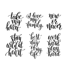 set of 6 handwritten lettering positive quotes vector image