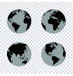 set of earth globes on transparent background vector image