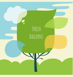 Set of speech bubble with tree vector