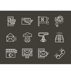 Simple white line online support icons set vector image