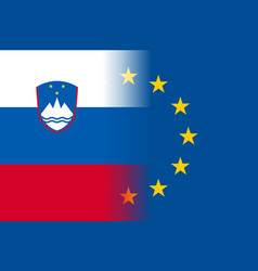 Slovenia national flag with a star circle of eu vector
