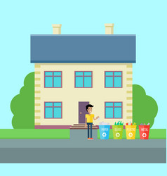 Sorting household trash concept vector
