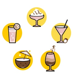 Summer retro cocktails set isolated on white vector image