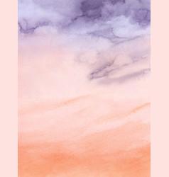 Sunset sky purple and orange watercolor vector