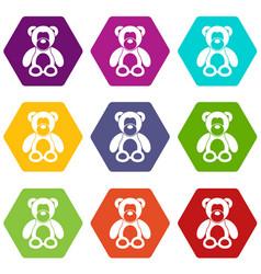 teddy bear icon set color hexahedron vector image