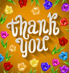 Thank you script greeting card with cute floral vector image