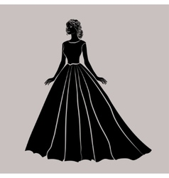 The black silhouette of a bride in wedding dress vector
