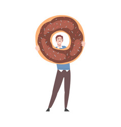 Tiny man with huge chocolate doughnut vector