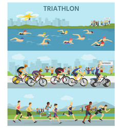 Triathlon marathon sport competition race vector