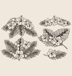 Tropical floral vintage concept vector
