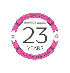 Twenty three years anniversary celebration logo vector