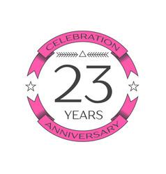 twenty three years anniversary celebration logo vector image