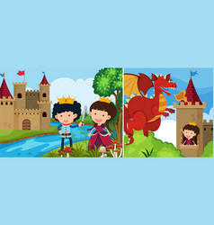 two fairytale scenes with princess in the tower vector image