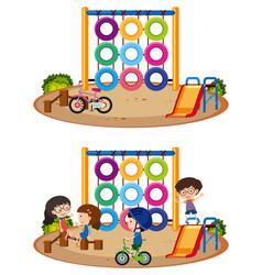 Two playground scenes with and without kids vector