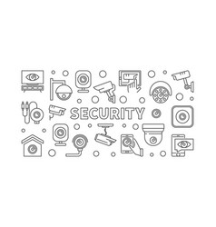 Video security concept horizontal line banner vector