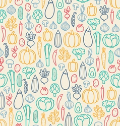Vintage vegetables pattern vector