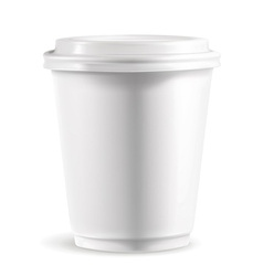 White paper cup with lid detailed vector
