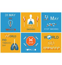 world no smoking day on 31 may posters set vector image