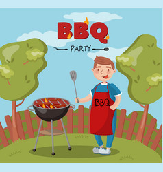 Young man cooking barbecue on the backyard n vector
